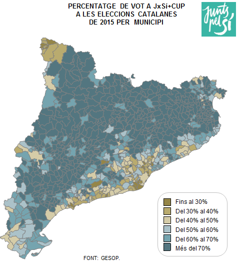 Percentage of vote to pro-independence parties in the Catalan elections