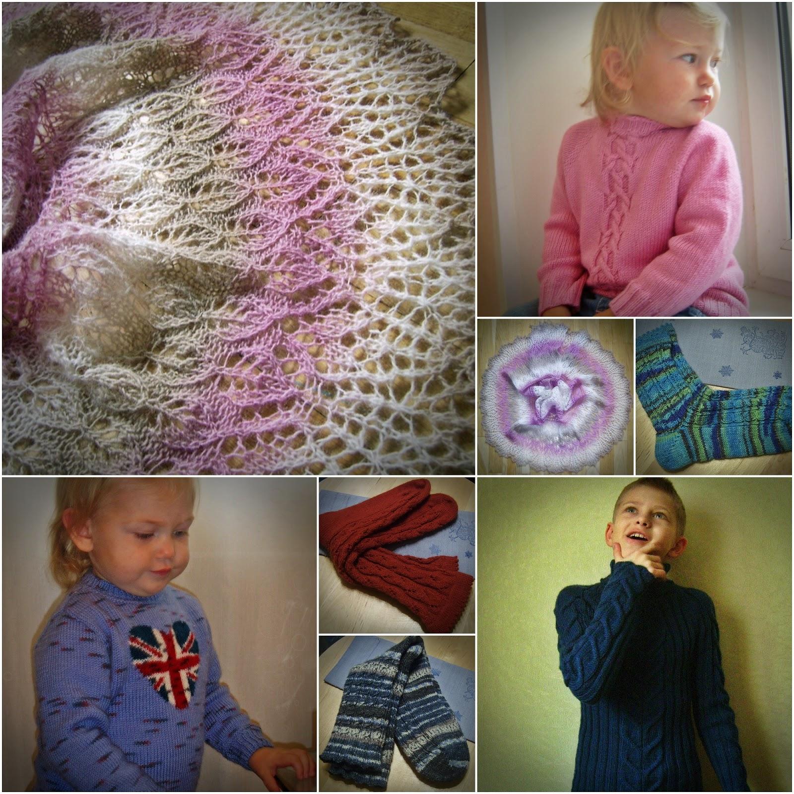 Вязание: коллаж. Шаль, носки, детские свитера