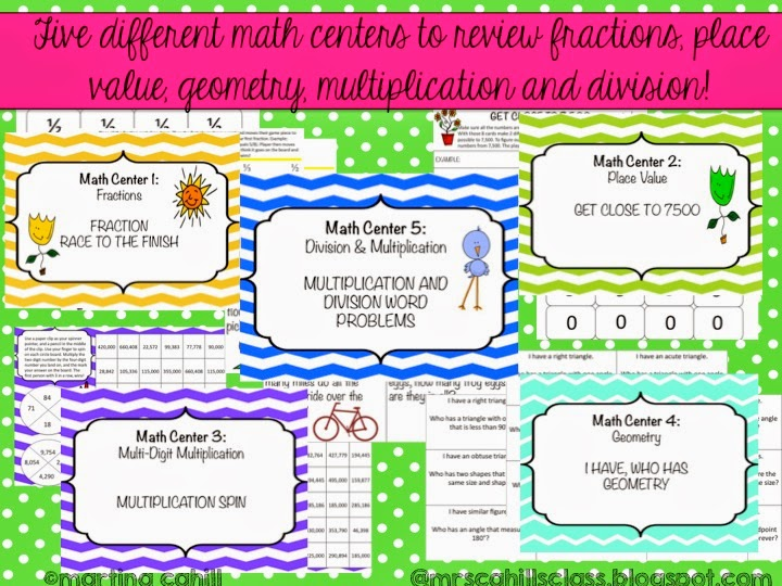 http://www.teacherspayteachers.com/Product/Math-Summer-Review-Centers-4th-and-5th-Grade-Common-Core-750713