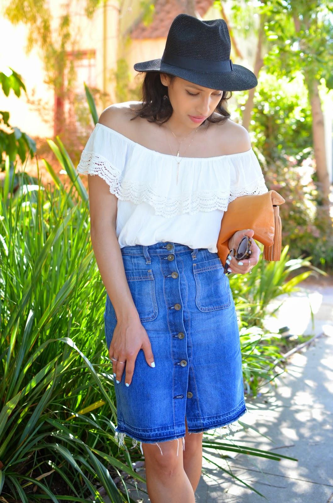 Rag & bone, denim high waisted skirt, denim skirt, off the shoulder top, spring style, Venice, Venice beach, LA, slide sandals, Matisse, DSW, black straw fedora,