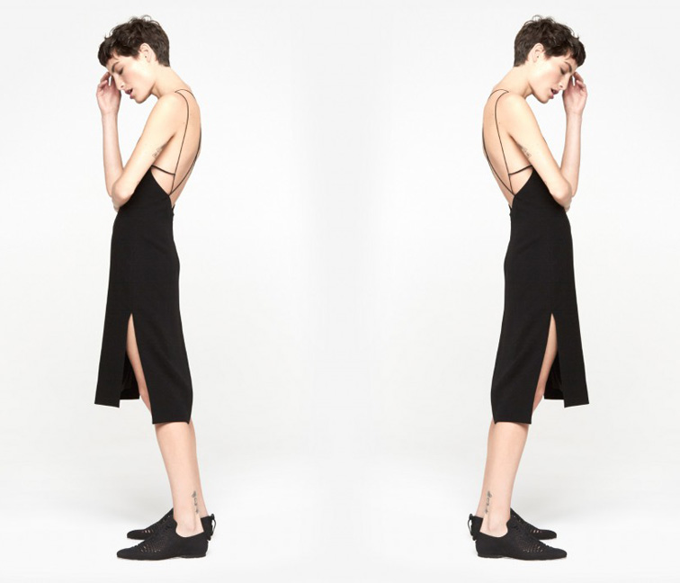 Rag & Bone Division black dress at the Cools, pixie hair cut, midi slit dress with loafers