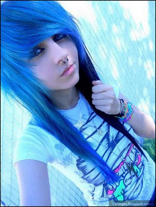 Blue naked emo hair girl