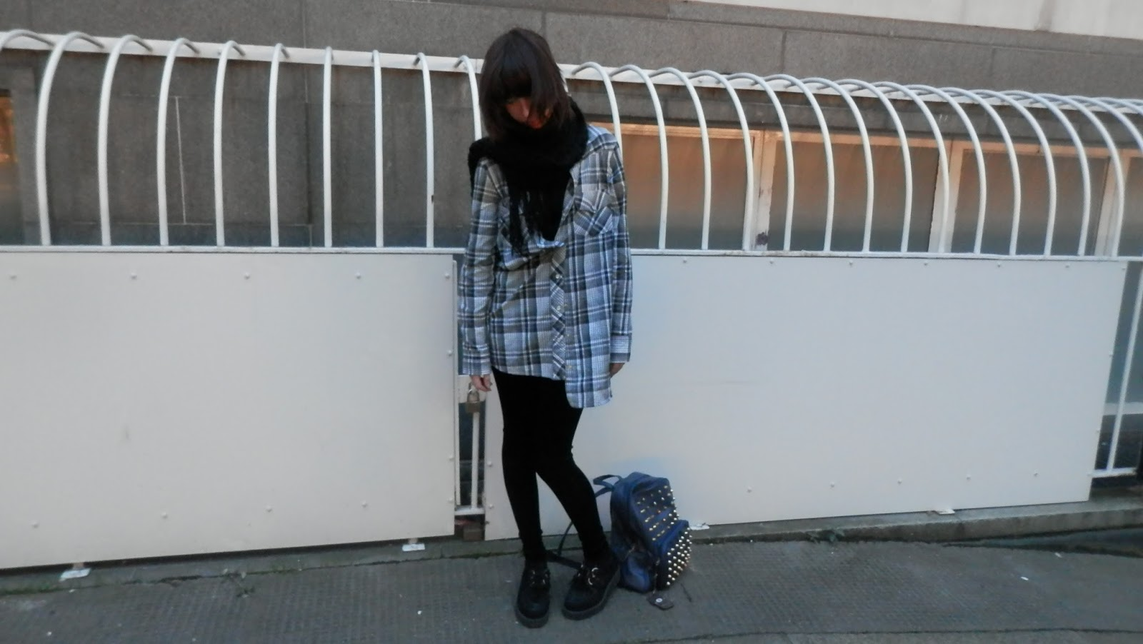 checked shirt and velvet leggings outfit