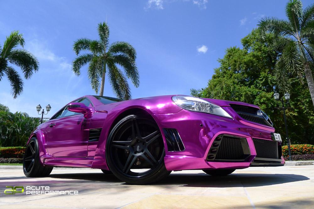 Mercedes sl chrome purple with adv1 wheels garage car for Chrome mercedes benz