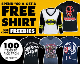 Spend $60 and Get A FREE Shirt at SuperHeroStuff