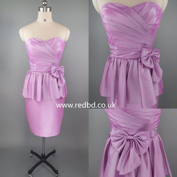 Peplum Short Bridesmaid Dress With A Big Bowknot Accented