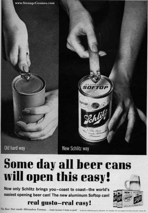 Schlitz softop beer ad, early 1960s - Source: Freakonomics