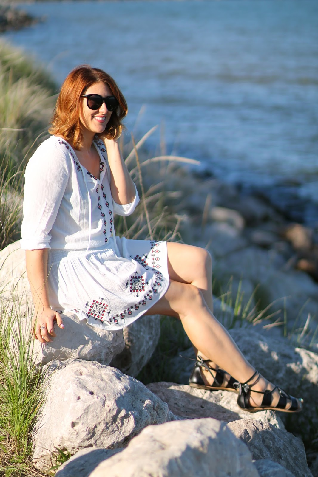 embroidered, white, peasant, dress, forever, 21, lace, up, sandals