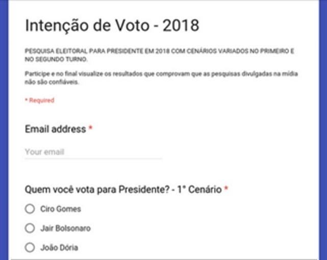 INTENÇÃO DE VOTOS PRESIDENTE 2018