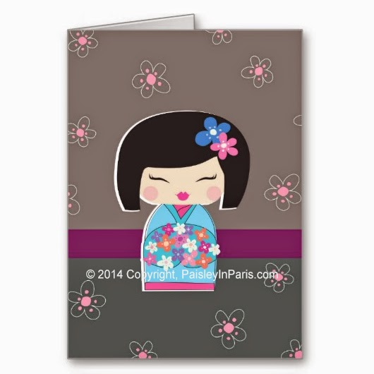 Kokeshi Doll and Cherry Blossoms stationery