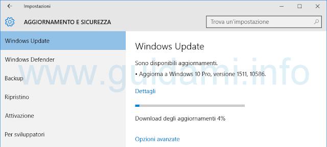 Aggiornamento di Novembre di Windows 10 in Windows Update