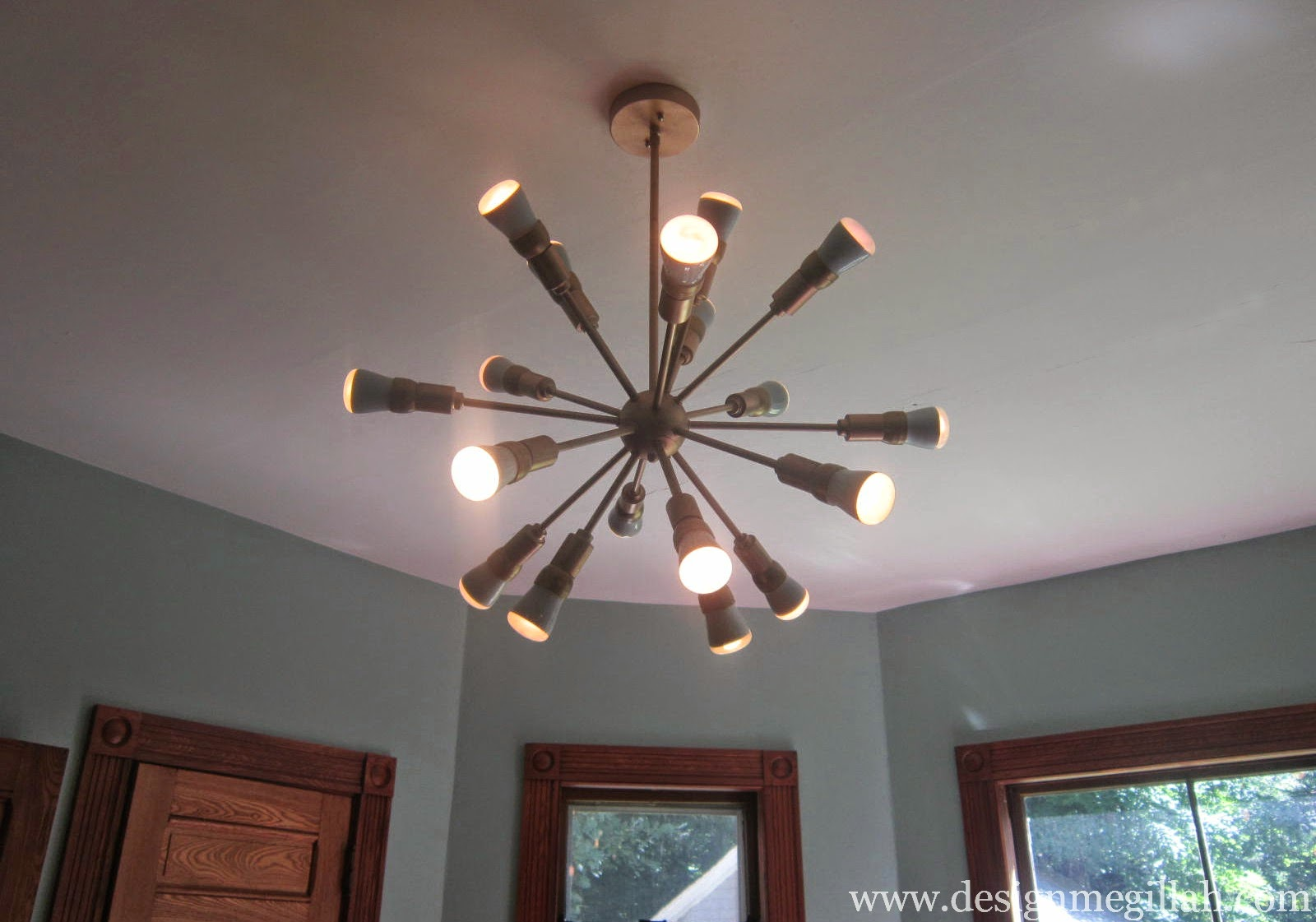 this 18 light brushed nickel chandelier at lowe 39 s and it 39 s perfect. Black Bedroom Furniture Sets. Home Design Ideas