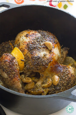 Greek Dutch Oven Chicken, shared by Sweet C Designs