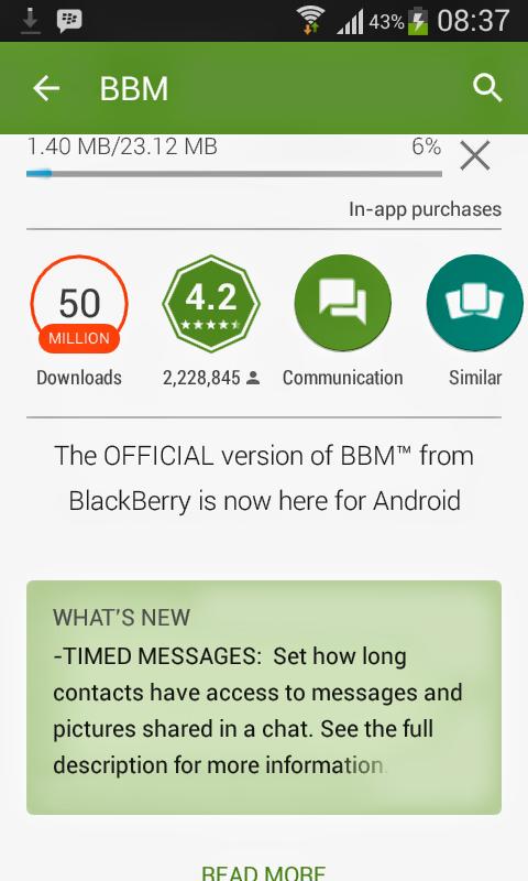 Menghapus Pesan Singkat di BBM dengan Timed Messages