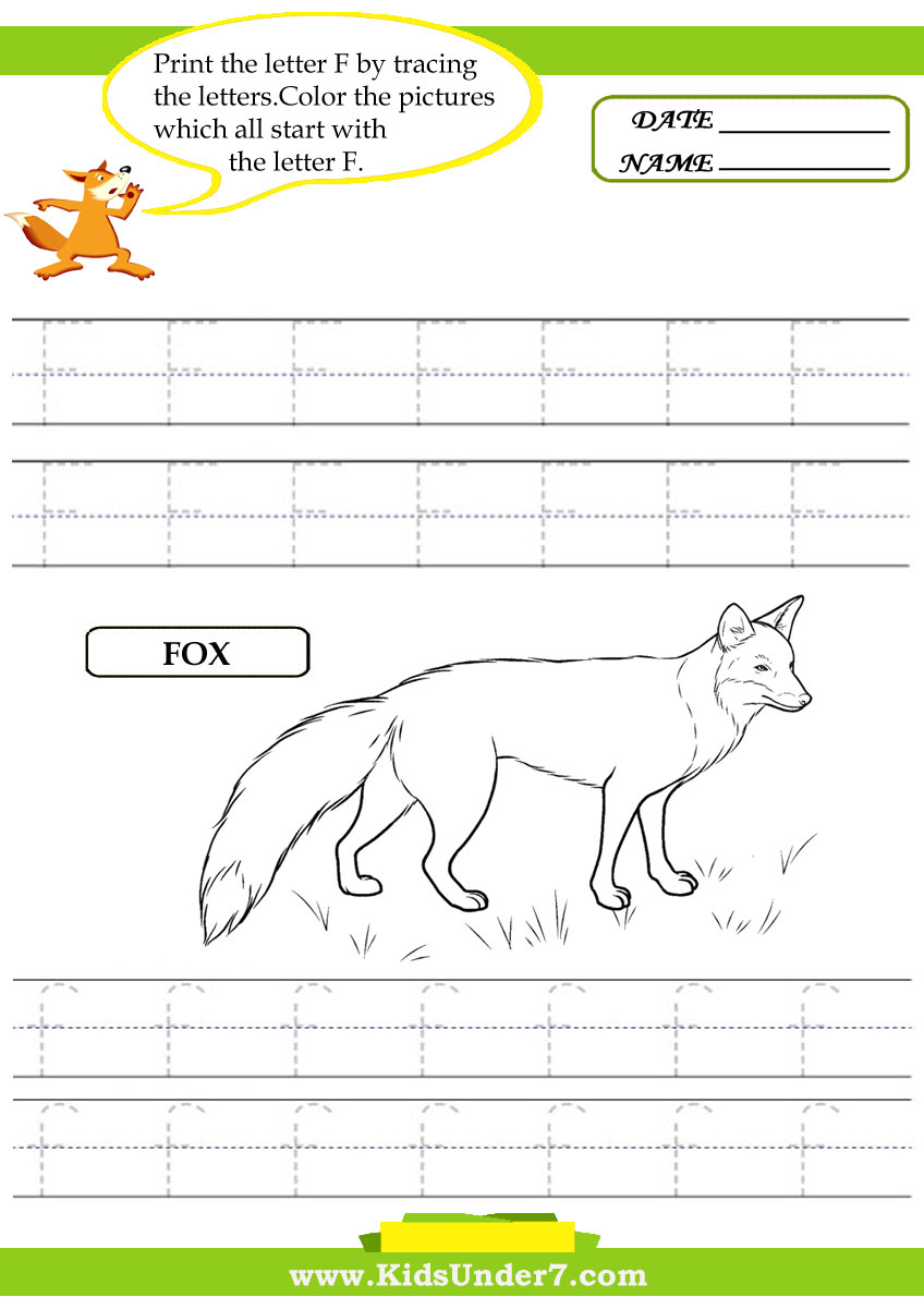 Alphabet worksheets.Trace and Print Letter F