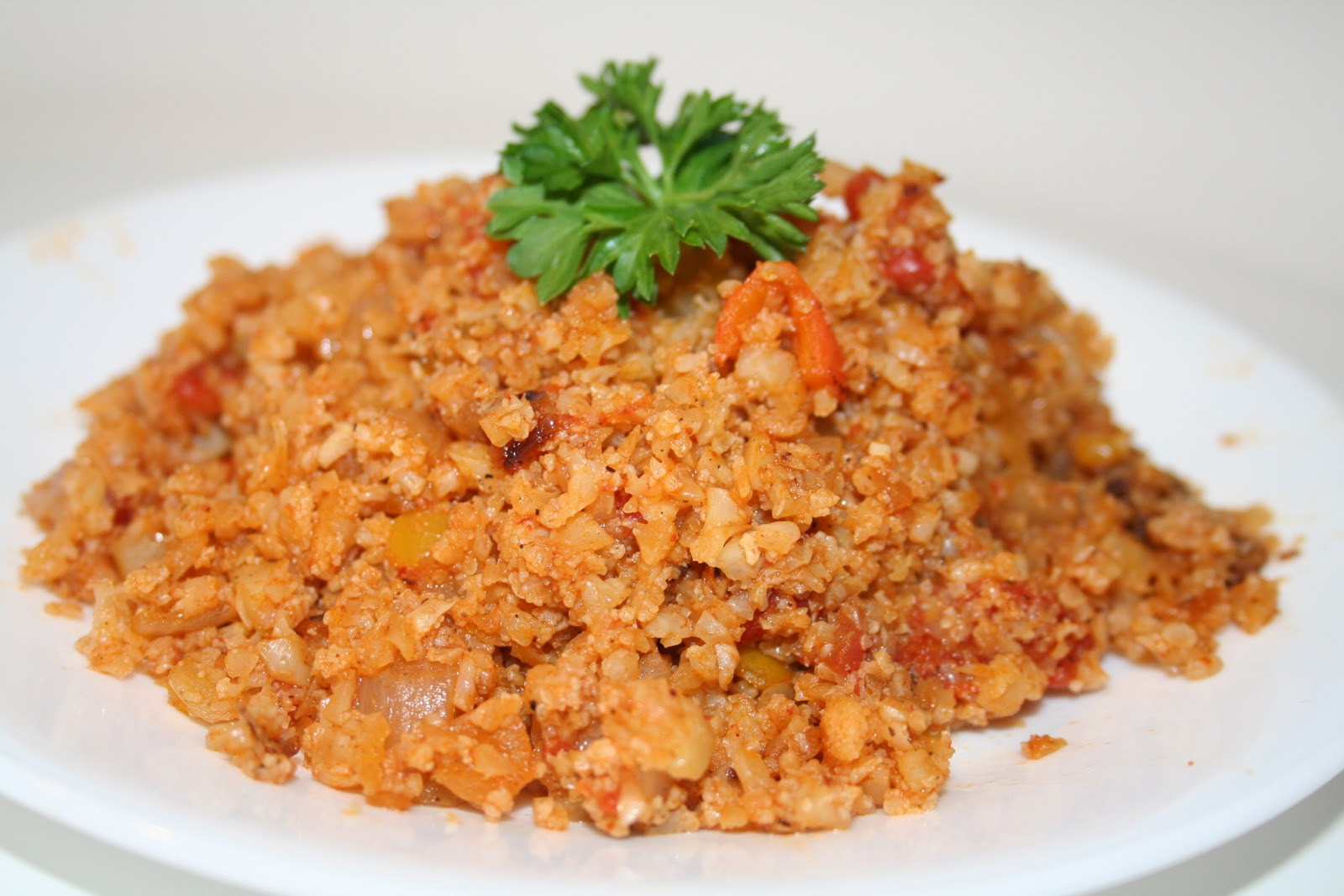 is my version of traditional Spanish Rice with a twist, it's not rice ...