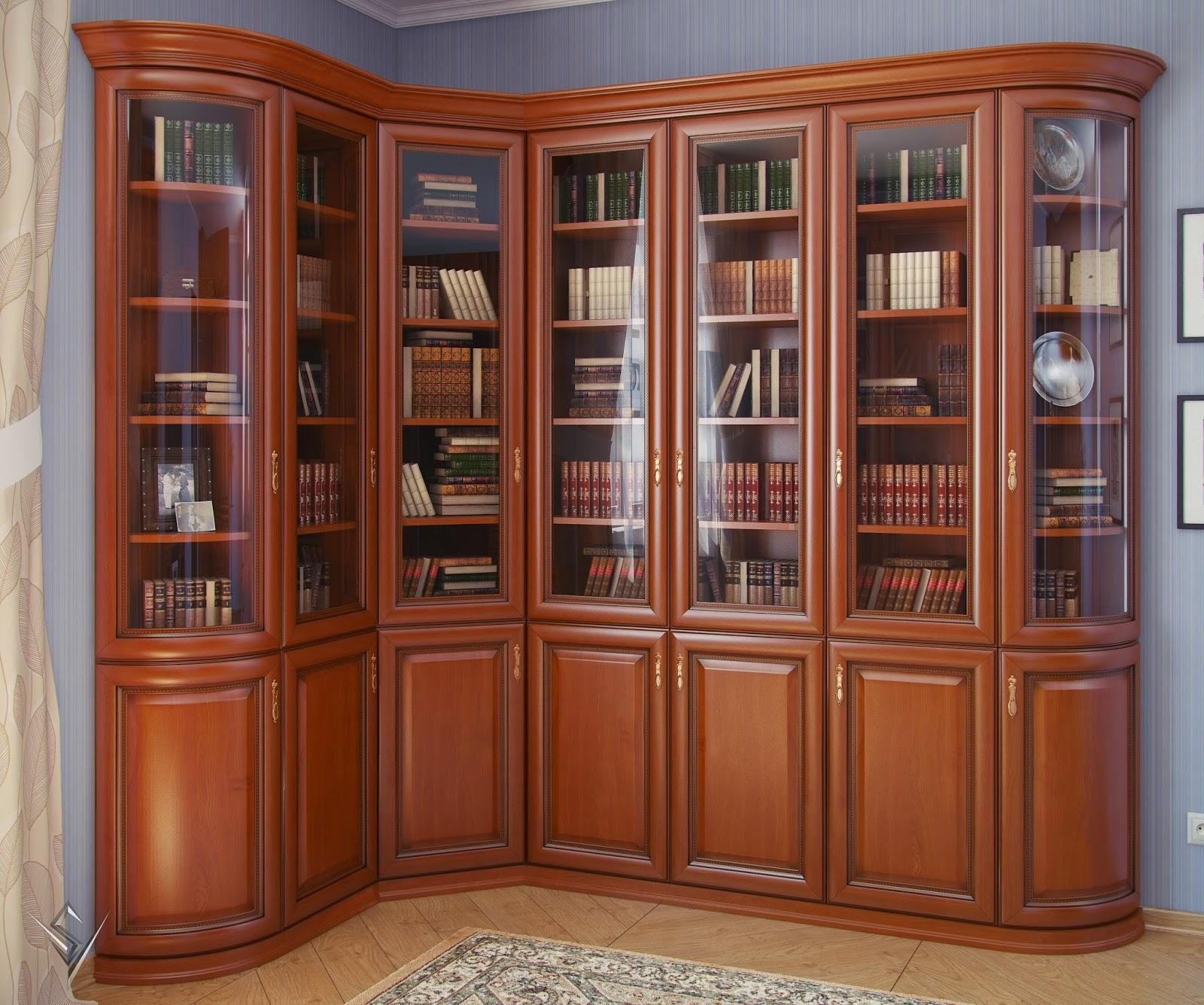 3d модели: шкафы - комбат \\ угловой шкаф для книг.