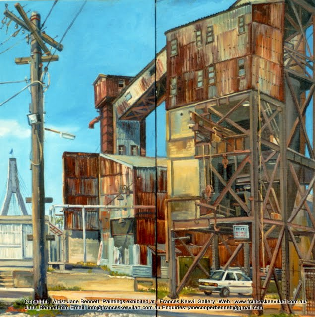oil painting of White Bay Power Station by artist Jane Bennett