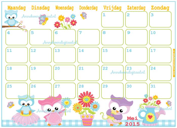 Mei 2015, kalender om te printen, maandkalender, mei, moederdag kalender, Moederdag, uiltjes kalender, bloemen kalender
