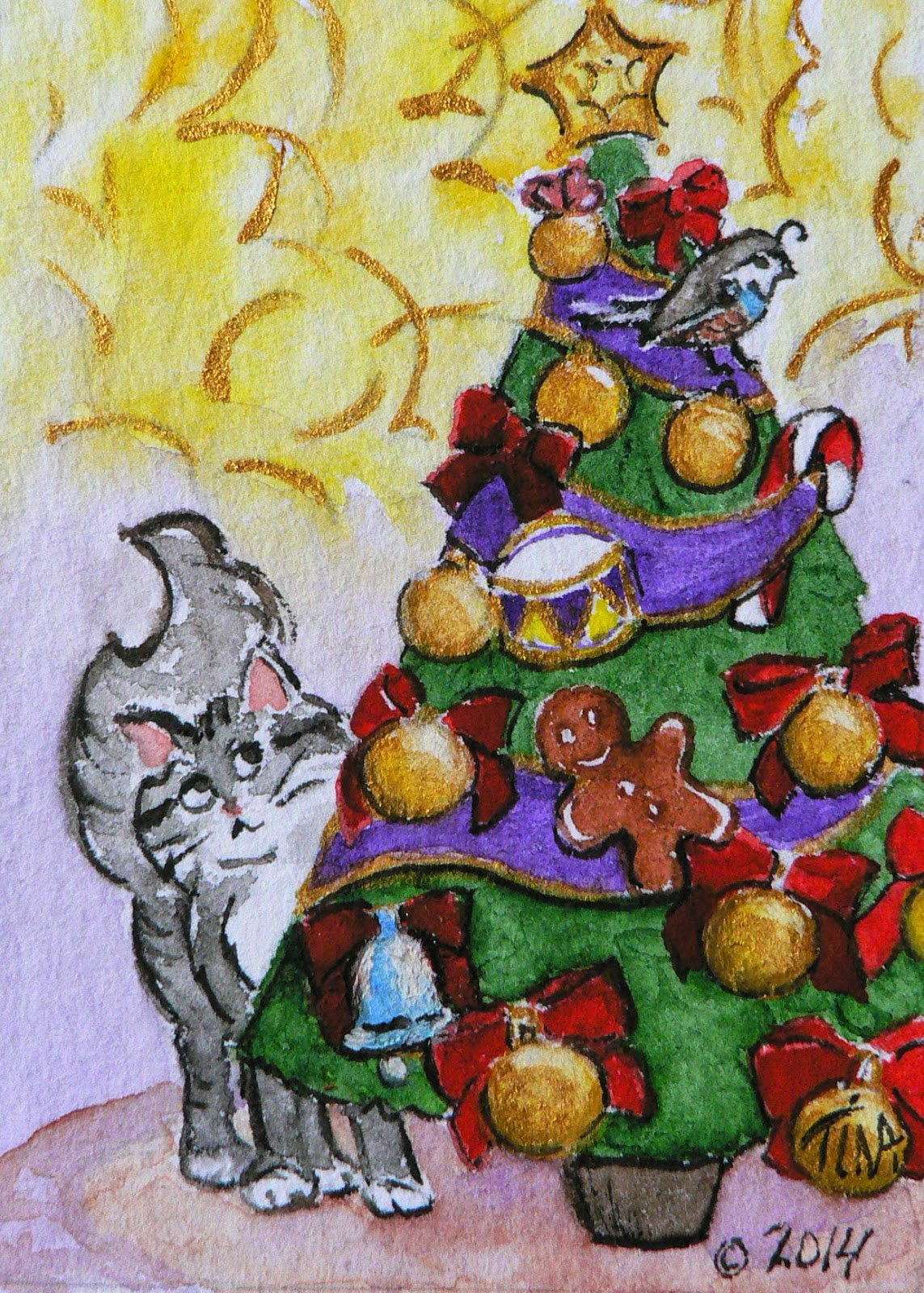 """Partridge in a Fir Tree"" 3.5x2.5"" watercolor on paper, ©2014 Tina M Welter  Grey cat thinking about jumping for the partridge in the Christmas tree."