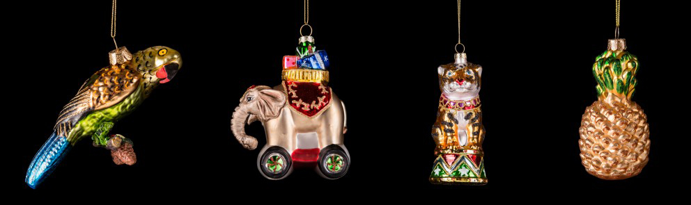 Parrot, Elephant, Tiger and Pineapple Christmas Tree Decorations