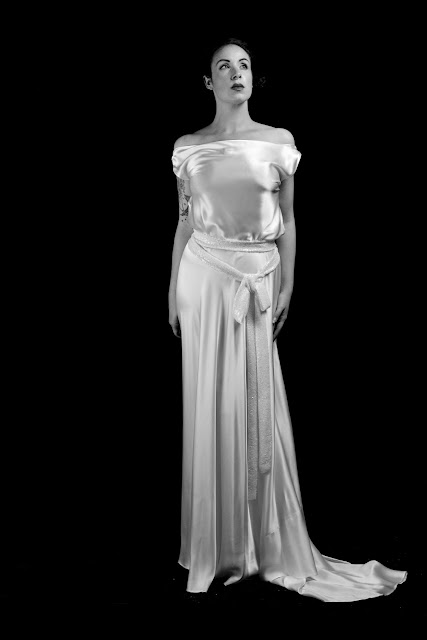 Jean Harlow old Hollywood satin dress by Alexandra King