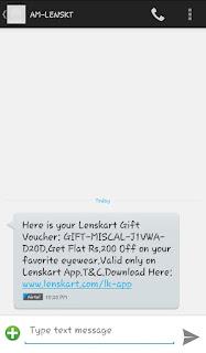 Lenskart rs.200 gift voucher by missed call