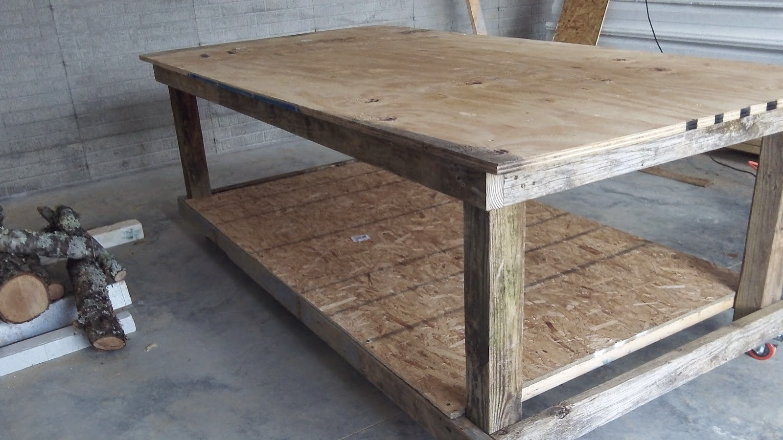 Work bench made from recovered wood