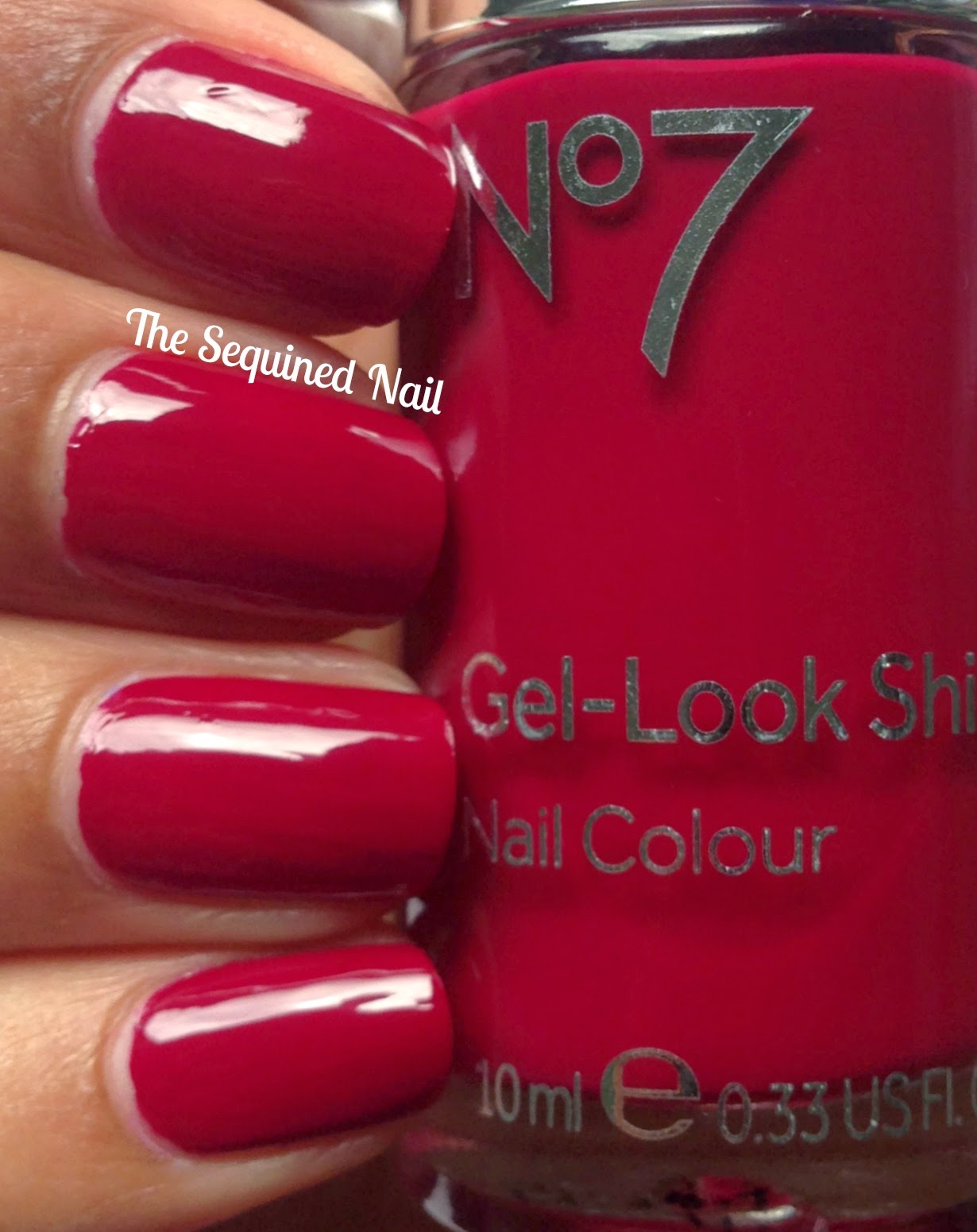 The Sequined Nail: No7 Gel-Look Shine Deep Wine swatch