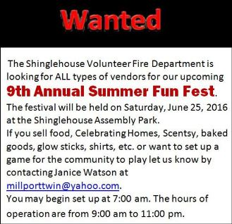 6-25 Vendors Wanted, Fun Fest, Shinglehouse