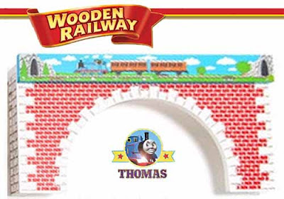 Thomas the engine train table sturdy wooden railway arches decorated in white and red brick pattern