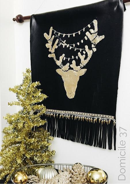 Gold Leaf, Fringe, and stud reindeer holiday decor