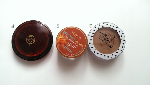 Three different bronzers including the body shop honey bronzer