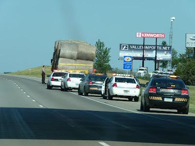cops and hay truck