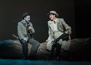 The Cunning Little Vixen – British Youth Opera at the Peacock Theatre. Kieran Rayner (Forester) and Simon Tournier (Harašta). Photo: Clive Barda/ArenaPAL
