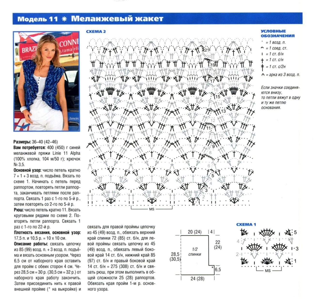 Cхемы и описание вязания болеро крючком для женщины 22