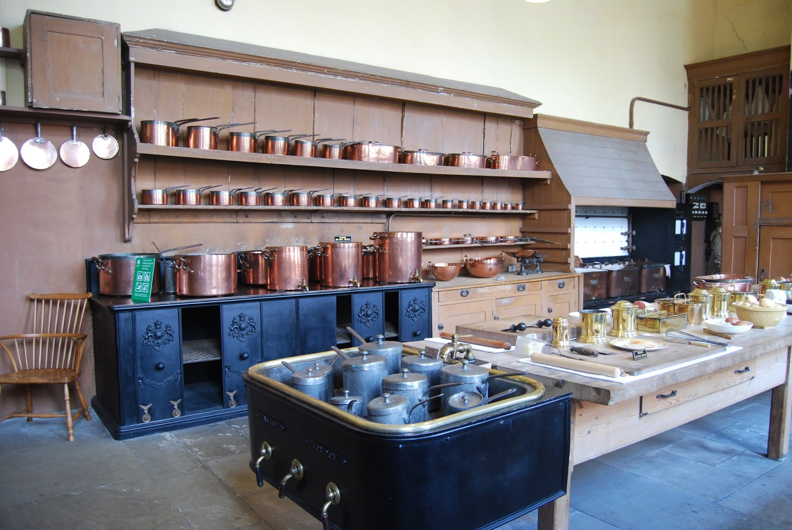 Copper pots and pans, Petworth House, photo by Modern Bric a Brac