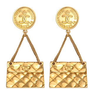 Vintage 1990's gold Chanel dangling purse earrings.