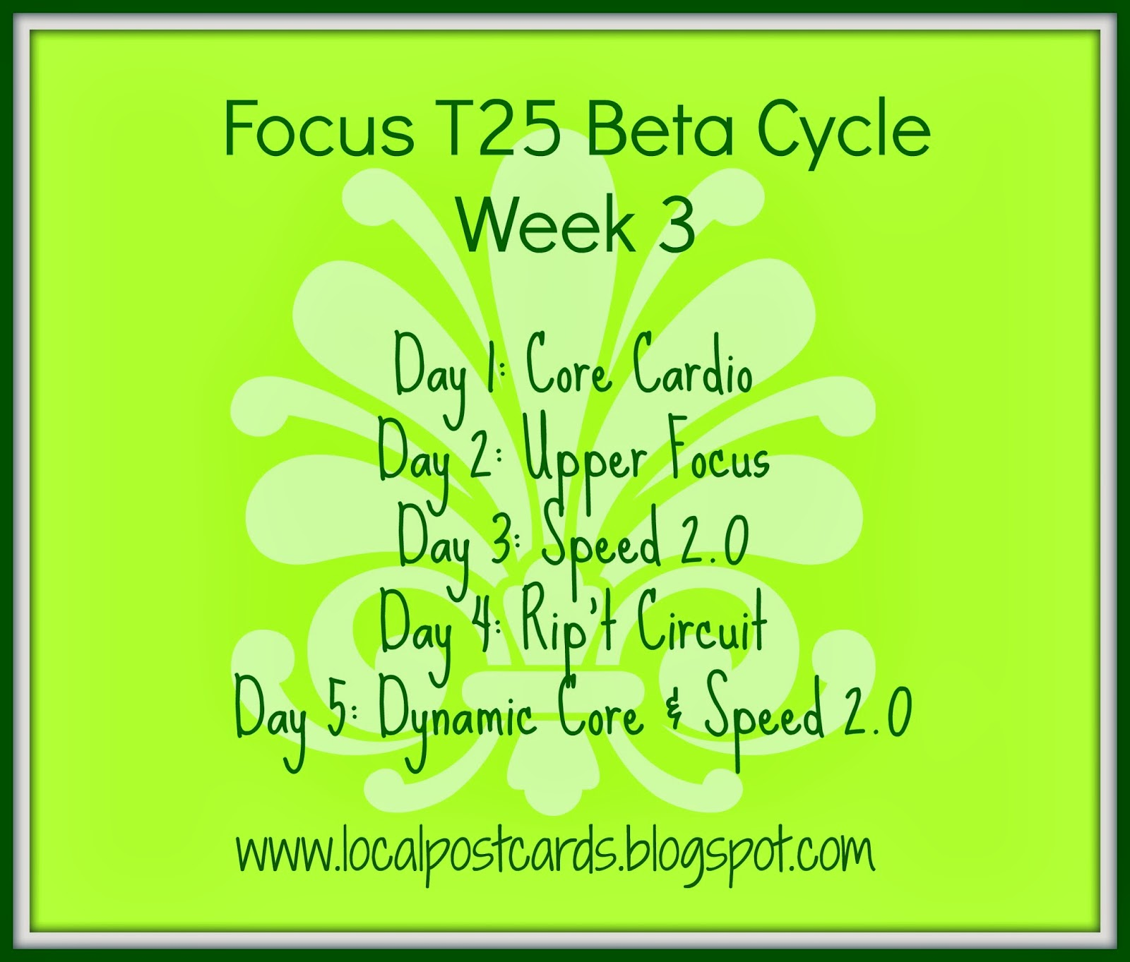T25 Beta Schedule Week 3