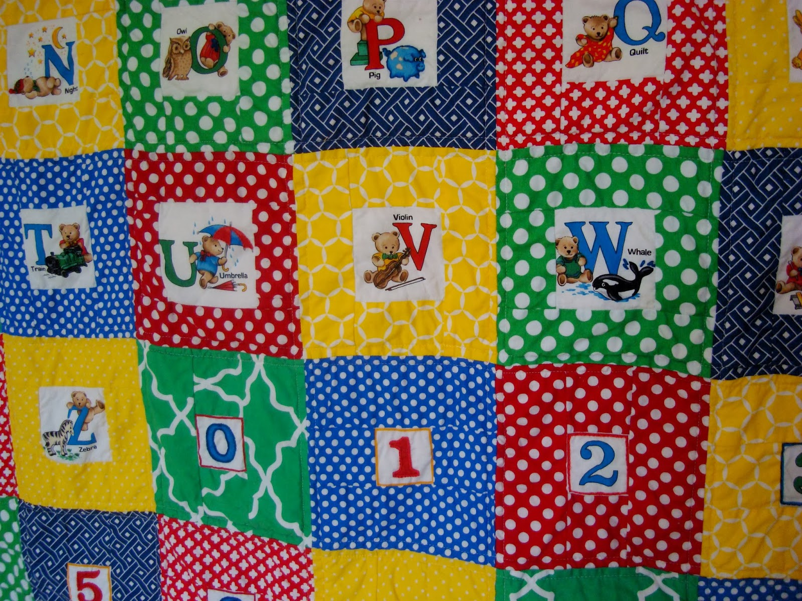 Alphabet embroidered quilt / charm about you
