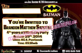 Invitation Card Kartu Undangan Batman Kartu Undangan Ulang Tahun Anak (Invitation Card)