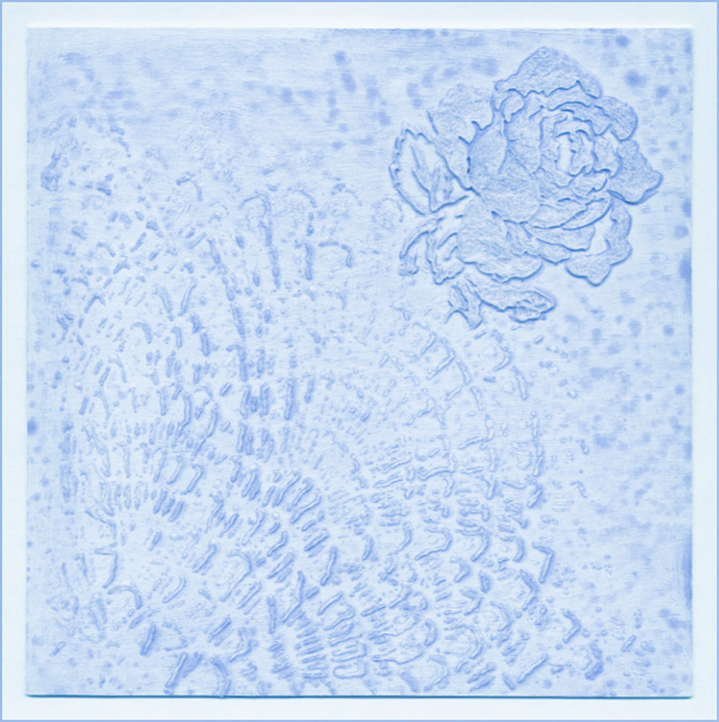 Soft Blue Lace And Rose Stencilled Background