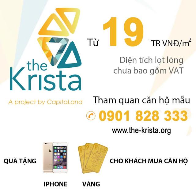 Căn hộ The Krista chỉ với giá 19tr/m2. Nhiều chính sách khuyến mãi.
