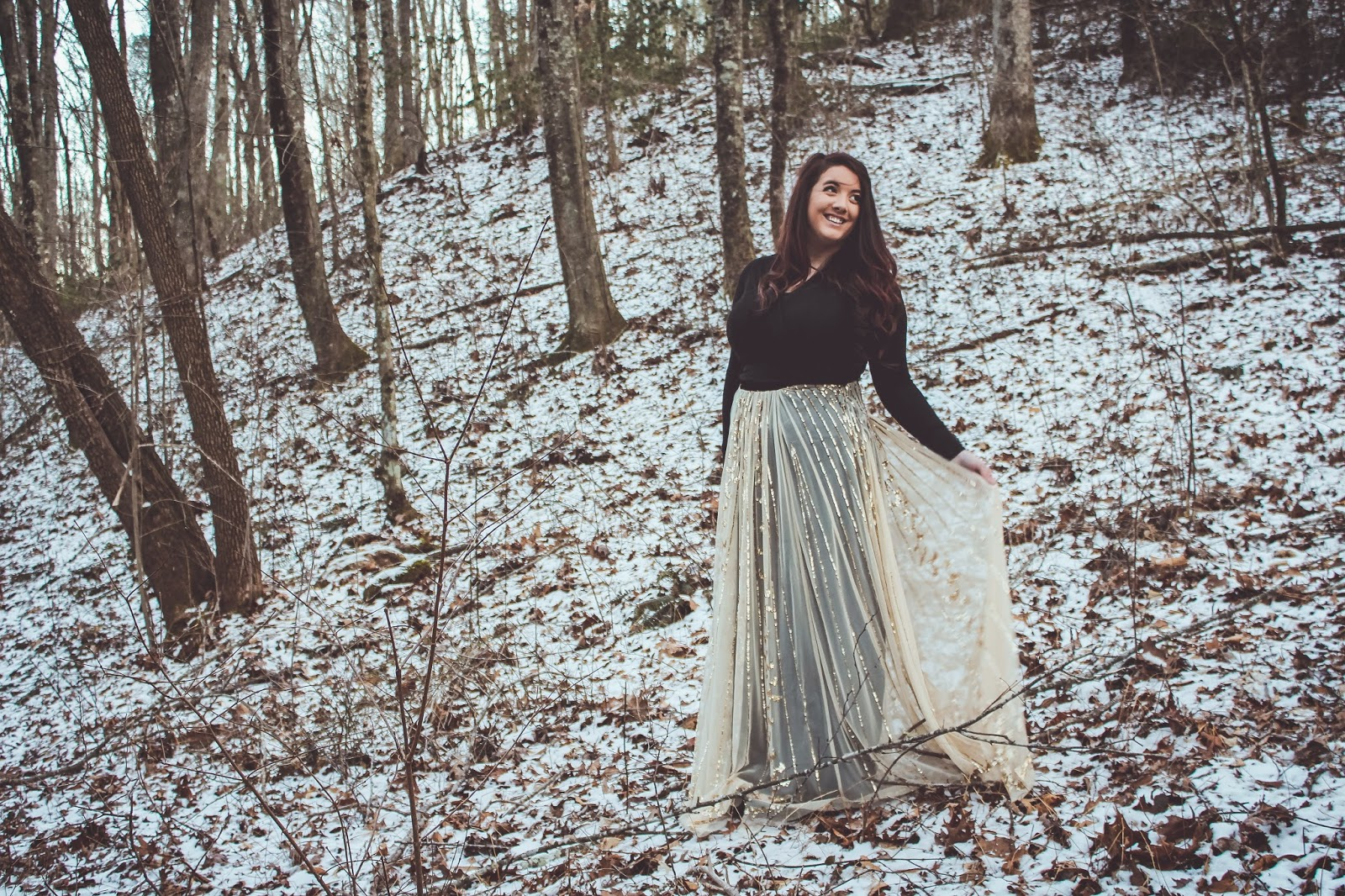 are we out of the woods yet snow georgia outdoors winter photography trees whimsical princess skirt dress gold sparkle