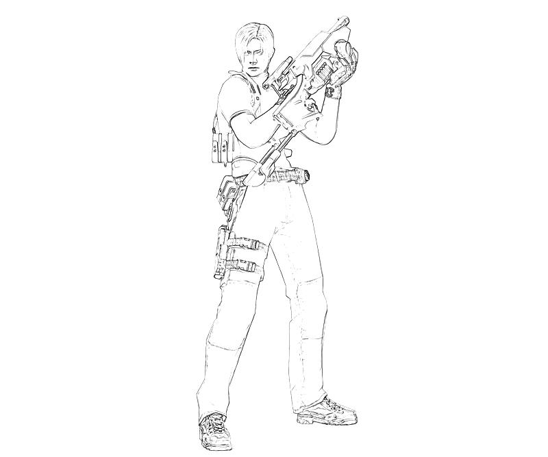 printable-resident-evil-leon-s-kennedy-weapon-coloring-pages