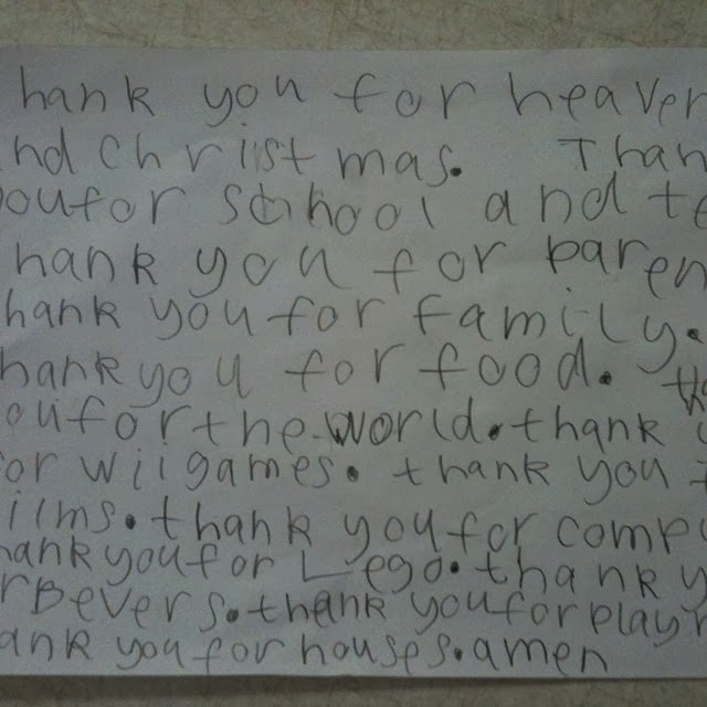 A prayer written by a 7 year old boy