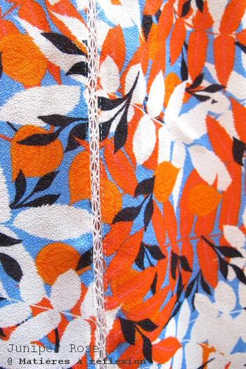Top imprimé feuilles orange Juniper Rose