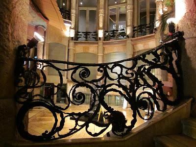 Staircase railing carefully designed inside Casa Milà