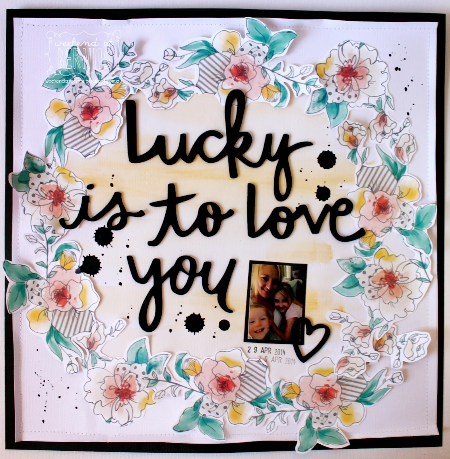 Lucky is to Love you layout by Bernii Miler - using Amy Tangerine Stitched collection.