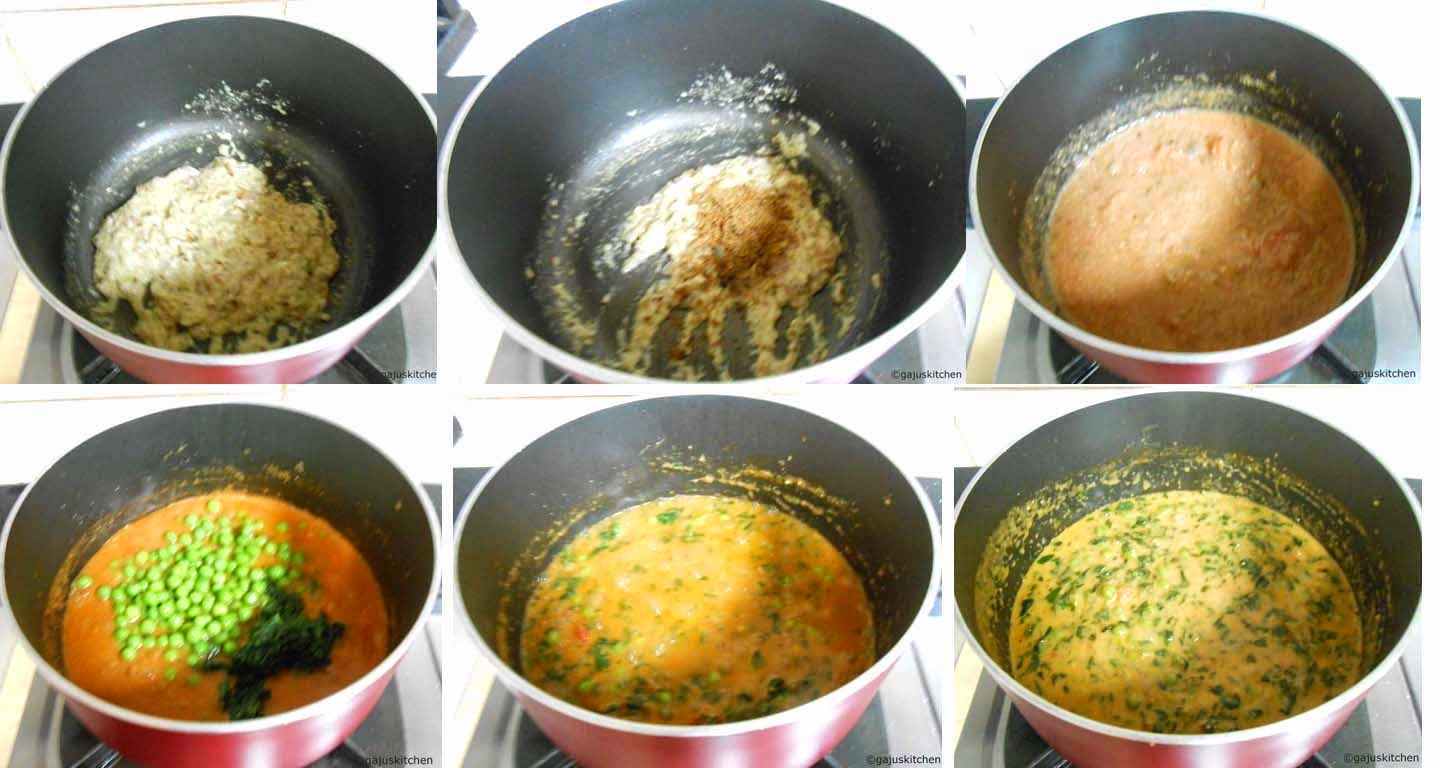 Methi Mutter Malai preparation